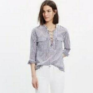 Madewell Striped Terrace Lace Up Top